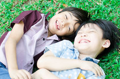 Little boy friends laugh together Stock Photography