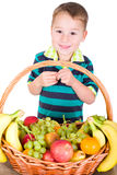 Little boy with fruit Royalty Free Stock Photos