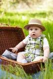 Little boy in the garden. Stock Photo
