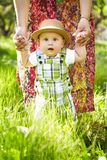 Little boy in the garden. Walking outdoors. Stock Photography