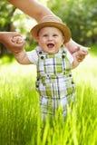 Little boy in the garden. Walking outdoors. Stock Photo