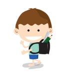 Little Boy gehen zur Schule. Stockfotografie