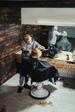 Little Boy Getting Haircut By Barber Royalty Free Stock Photos