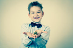 Little boy with  a Gift Box Stock Image
