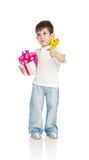 The little boy with a gift and the colors Stock Photography