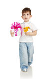 The little boy with a gift in a hands Stock Photography