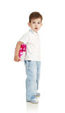 The little boy with a gift in a hands Royalty Free Stock Images