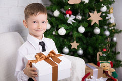 Little boy with gift near the Christmas tree Royalty Free Stock Photo