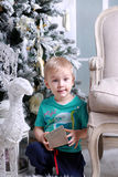 Little boy with gift Stock Photos