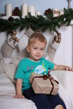 Little boy with gift Stock Photography
