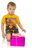 Little boy with gift Royalty Free Stock Image