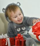 Little Boy with gifts Royalty Free Stock Photos