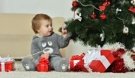 Little Boy with gifts Stock Photography
