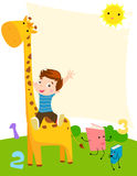 Little boy and giraffe Royalty Free Stock Photo