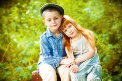 Little boy and girl Royalty Free Stock Image