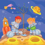Little boy and girl astronauts planting a tree. Vector illustration of a little boy and girl astronauts planting a tree on a new planet Royalty Free Stock Image