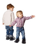 Little boy and girl in big shoes Stock Photography
