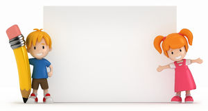 Little Boy and Girl with Blank Board