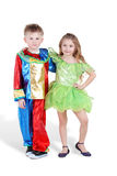 Little boy and girl in carnival suits stand Royalty Free Stock Images