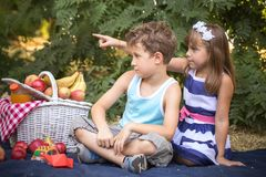 Little boy and girl couple in love. Happy cute little girl and a boy are sitting on a blanket in the park and playing in a beautiful sunny summer day. First love Royalty Free Stock Photos