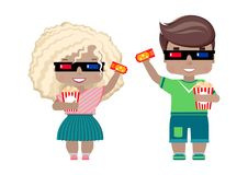 Girl in 3D glasses, with a ticket to the cinema and popcorn. Little boy and girl in 3D glasses, with a ticket to the cinema and popcorn. in summer clothes, t Royalty Free Stock Photo