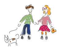 Little Boy and a Girl with Dog Royalty Free Stock Image