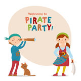 Little boy and girl dressed as, playing pirates with space for text Stock Photos