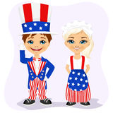 Little boy and girl dressed up like Uncle Sam Royalty Free Stock Photo