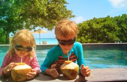 Little boy and girl drinking coconut cocktail on beach resort. Little boy and girl drinking coconut cocktail on tropical beach resort Royalty Free Stock Photo