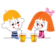 Little boy and girl drinking juice Stock Photos