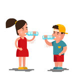Little boy and girl drinks water vector illustration. Kids drinking clean isolated on white background. Little boy and girl drinks water vector illustration Royalty Free Stock Photo