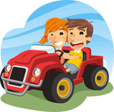 Little boy and girl driving a toy car. Children driving toy carm with a little boy and a little girl smiling, having fun while driving a red toy car. Vector Royalty Free Stock Photos