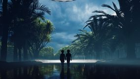 A little boy and girl at dusk walk along the wet highway, over which an alien UFO flies. For sci-fi, futuristic, sci-fi