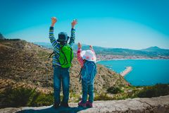 Little boy and girl enjoy travel in nature, family travel in Europe. Spain royalty free stock image