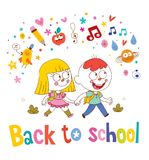 Little boy and girl going back to school Royalty Free Stock Image