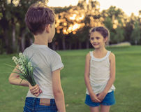Little boy and girl Stock Image
