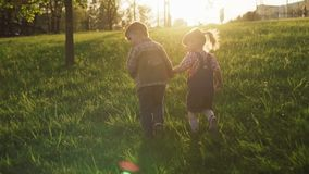 Little boy and girl holding hands and walking together along field at sunset stock video