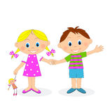 Little boy and girl holding hands and waving Royalty Free Stock Images