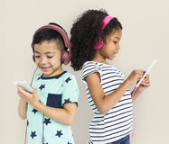 Little Boy Girl Listen Music Entertainment Studio Concept Royalty Free Stock Photography
