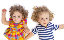 Little boy and girl looking at camera Royalty Free Stock Image
