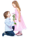 Little boy and girl in love Stock Images
