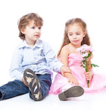 Little boy and girl in love Royalty Free Stock Photography