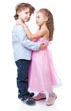 Little boy and girl in love. Isolated on white background stock photos