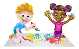 Little Boy and Girl Painting Stock Photography