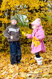 Little boy and girl play in a park in autumn Royalty Free Stock Photo