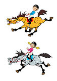 Little boy and girl pony riders royalty free illustration