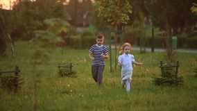 Little boy and girl run and play. They blow dandelion. sunset stock video