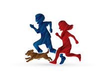 Little boy and girl running together with puppy dog Stock Photos