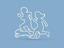 Little boy and girl running together with puppy dog. Graphic vector Stock Images