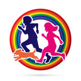 Little boy and girl running together with puppy dog Royalty Free Stock Images